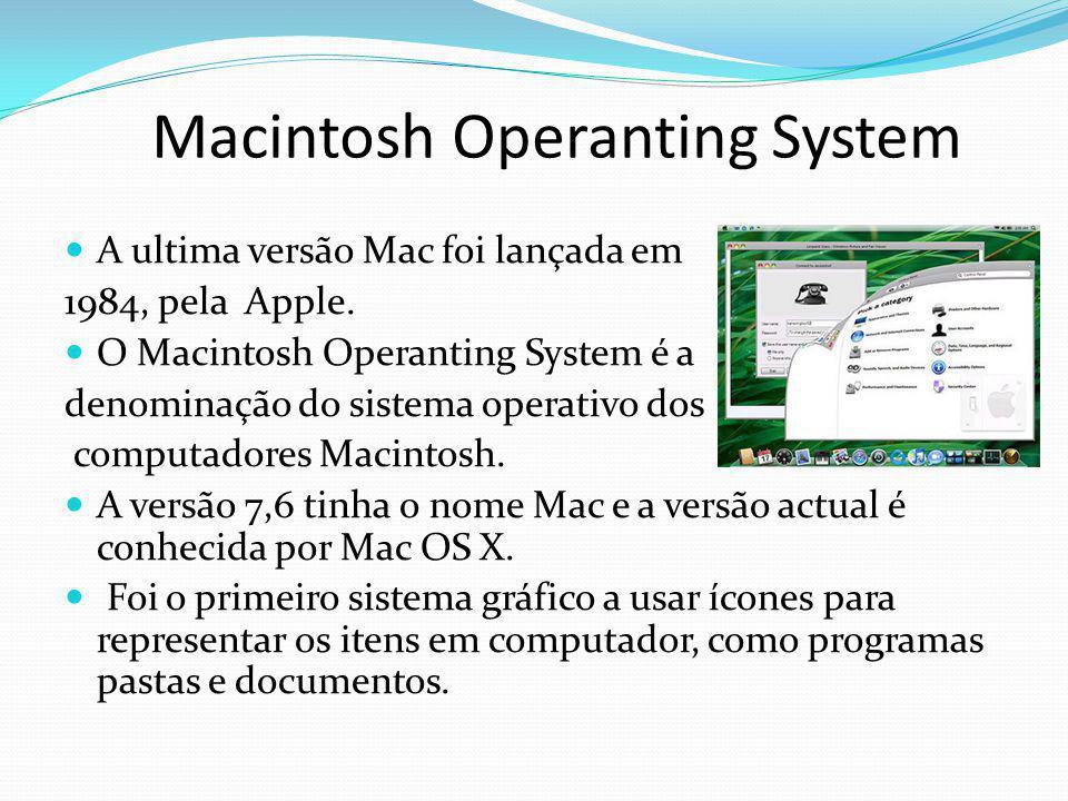 Macintosh Operanting System A ultima versão Mac foi lançada em 1984, pela Apple. O Macintosh Operanting System é a denominação do sistema operativo do