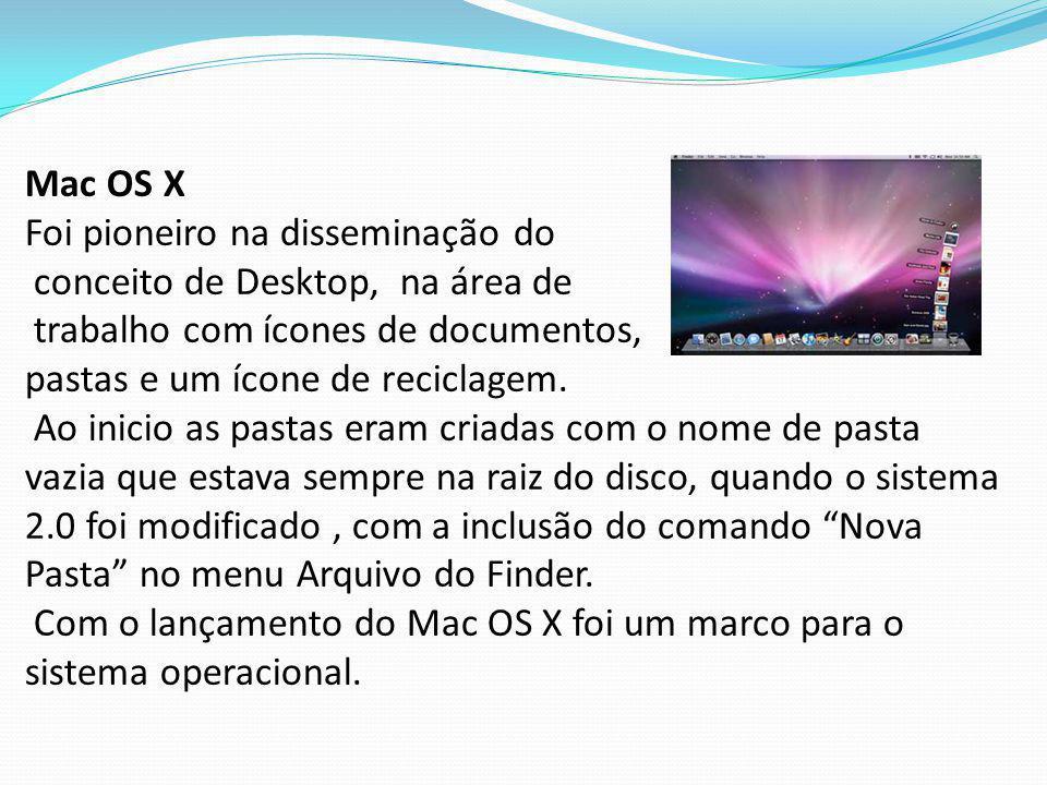 Mac OS X Foi pioneiro na disseminação do conceito de Desktop, na área de trabalho com ícones de documentos, pastas e um ícone de reciclagem. Ao inicio