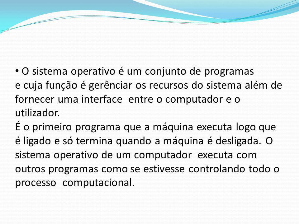 O sistema operativo é um conjunto de programas e cuja função é gerênciar os recursos do sistema além de fornecer uma interface entre o computador e o