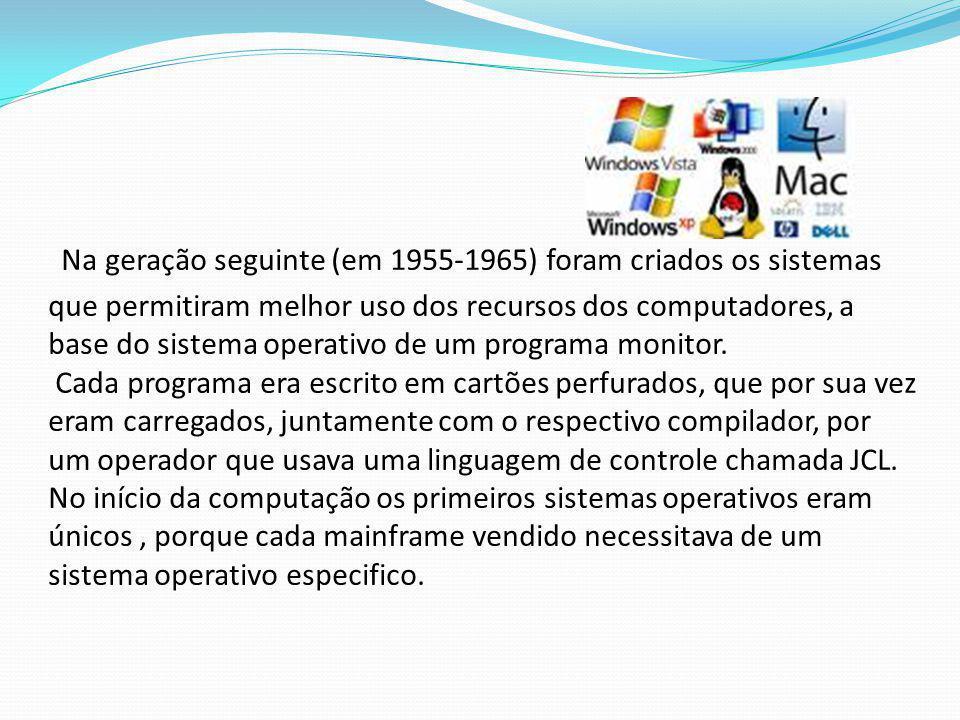 Na geração seguinte (em 1955-1965) foram criados os sistemas que permitiram melhor uso dos recursos dos computadores, a base do sistema operativo de u