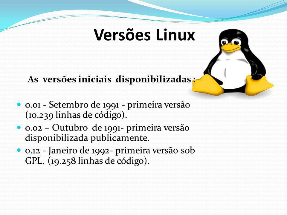 Versões Linux As versões iniciais disponibilizadas : 0.01 - Setembro de 1991 - primeira versão (10.239 linhas de código). 0.02 – Outubro de 1991- prim
