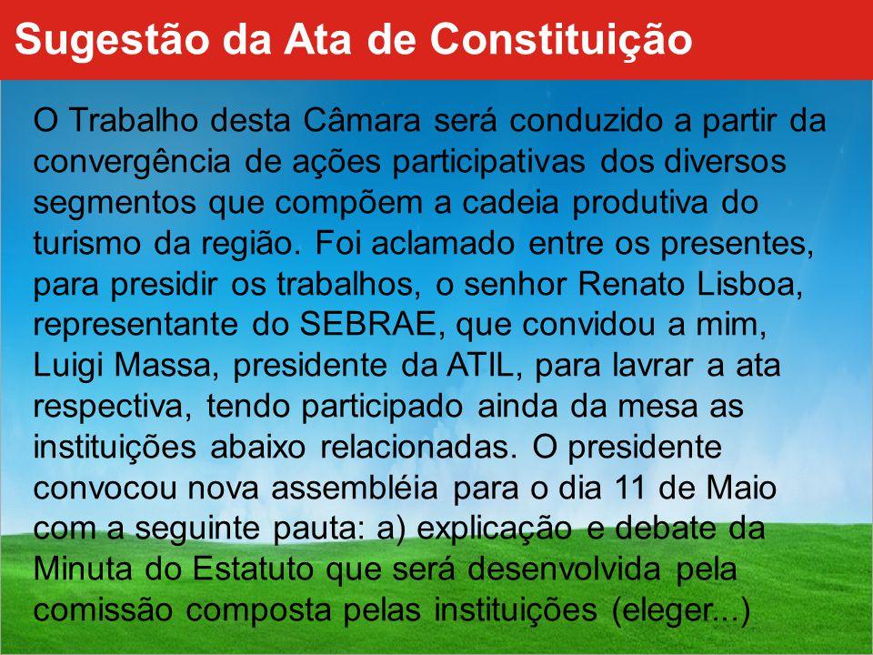 Sugestão da Ata de Constituição O Trabalho desta Câmara será conduzido a partir da convergência de ações participativas dos diversos segmentos que compõem a cadeia produtiva do turismo da região.