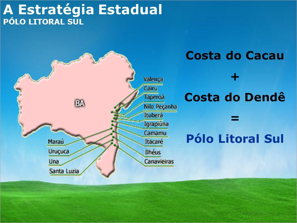 A Estratégia Estadual PÓLO LITORAL SUL Costa do Cacau + Costa do Dendê = Pólo Litoral Sul