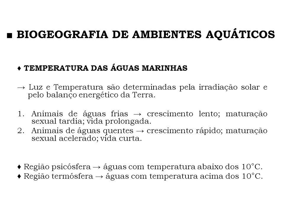TEMPERATURA DAS ÁGUAS MARINHAS Luz e Temperatura são determinadas pela irradiação solar e pelo balanço energético da Terra. 1.Animais de águas frias c