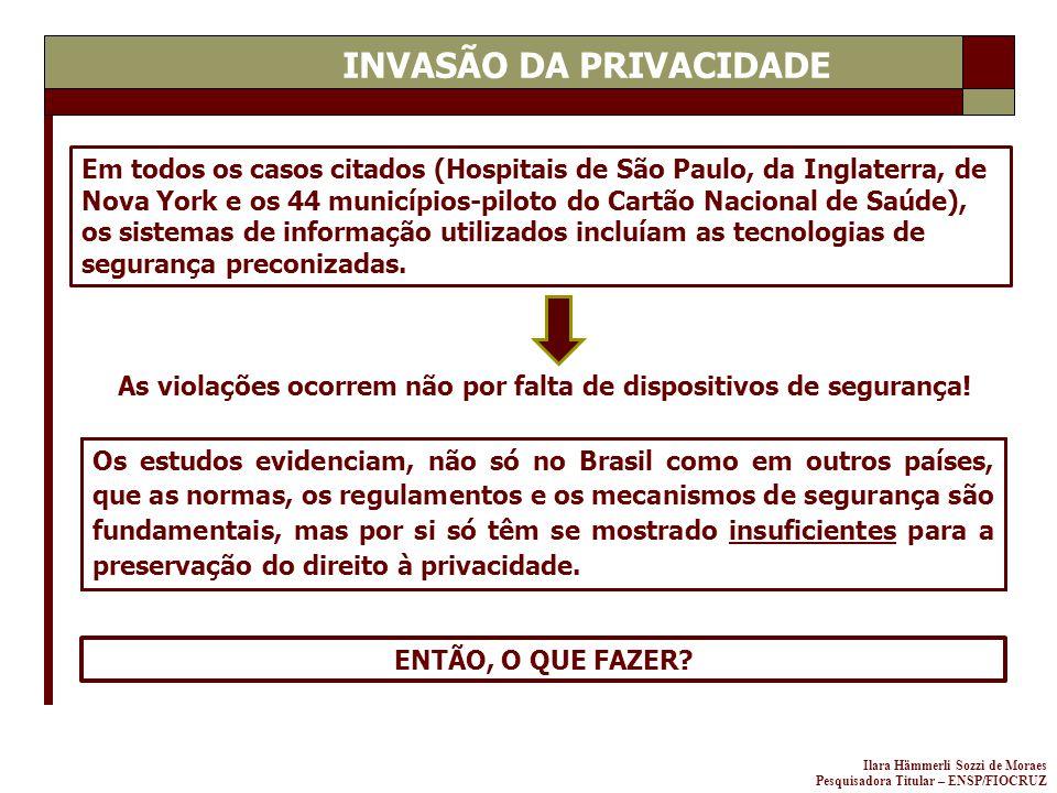 Ilara Hämmerli Sozzi de Moraes Pesquisadora Titular – ENSP/FIOCRUZ INVASÃO DA PRIVACIDADE Em todos os casos citados (Hospitais de São Paulo, da Inglat