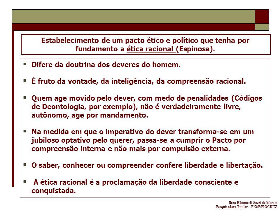 Ilara Hämmerli Sozzi de Moraes Pesquisadora Titular – ENSP/FIOCRUZ Estabelecimento de um pacto ético e político que tenha por fundamento a ética racio