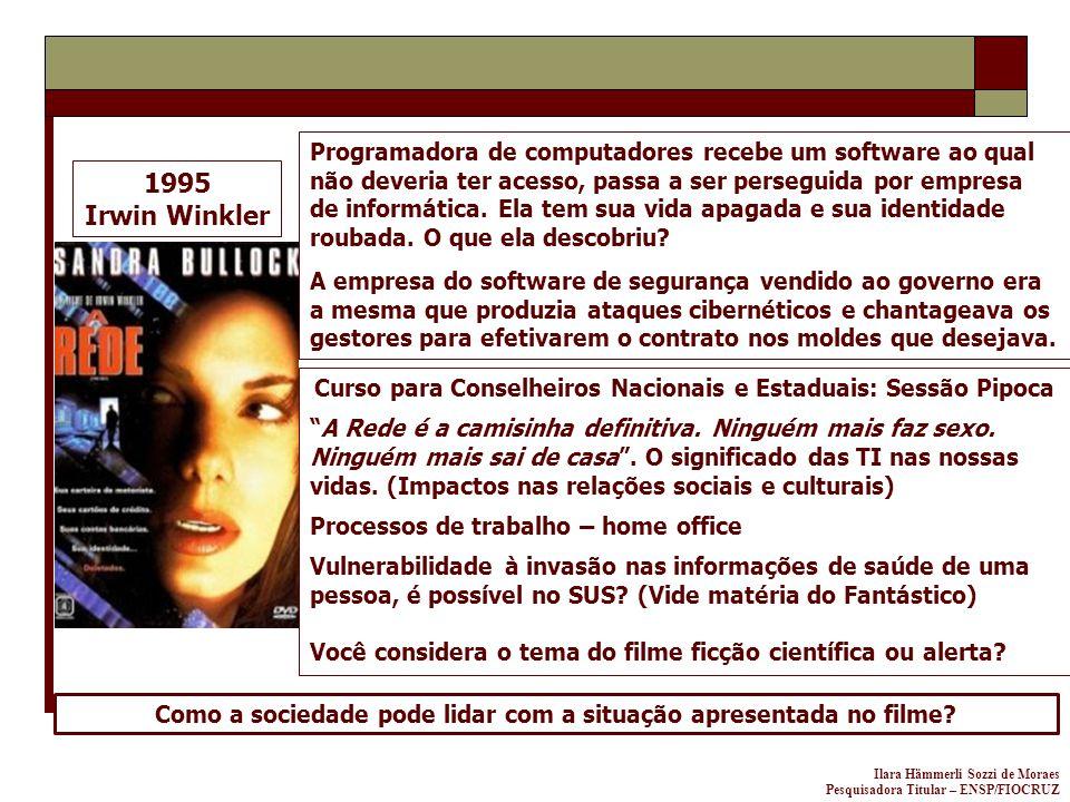 Ilara Hämmerli Sozzi de Moraes Pesquisadora Titular – ENSP/FIOCRUZ 1995 Irwin Winkler Programadora de computadores recebe um software ao qual não deve