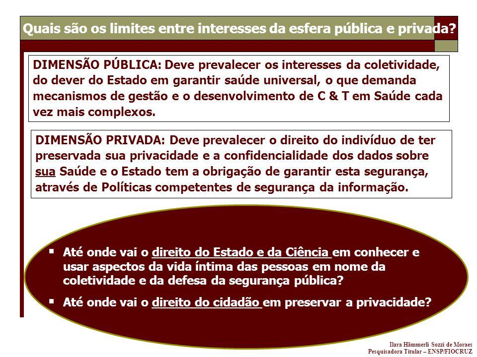 Ilara Hämmerli Sozzi de Moraes Pesquisadora Titular – ENSP/FIOCRUZ DIMENSÃO PÚBLICA: Deve prevalecer os interesses da coletividade, do dever do Estado
