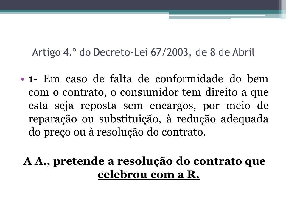 Artigo 4.º do Decreto-Lei 67/2003, de 8 de Abril 1- Em caso de falta de conformidade do bem com o contrato, o consumidor tem direito a que esta seja r
