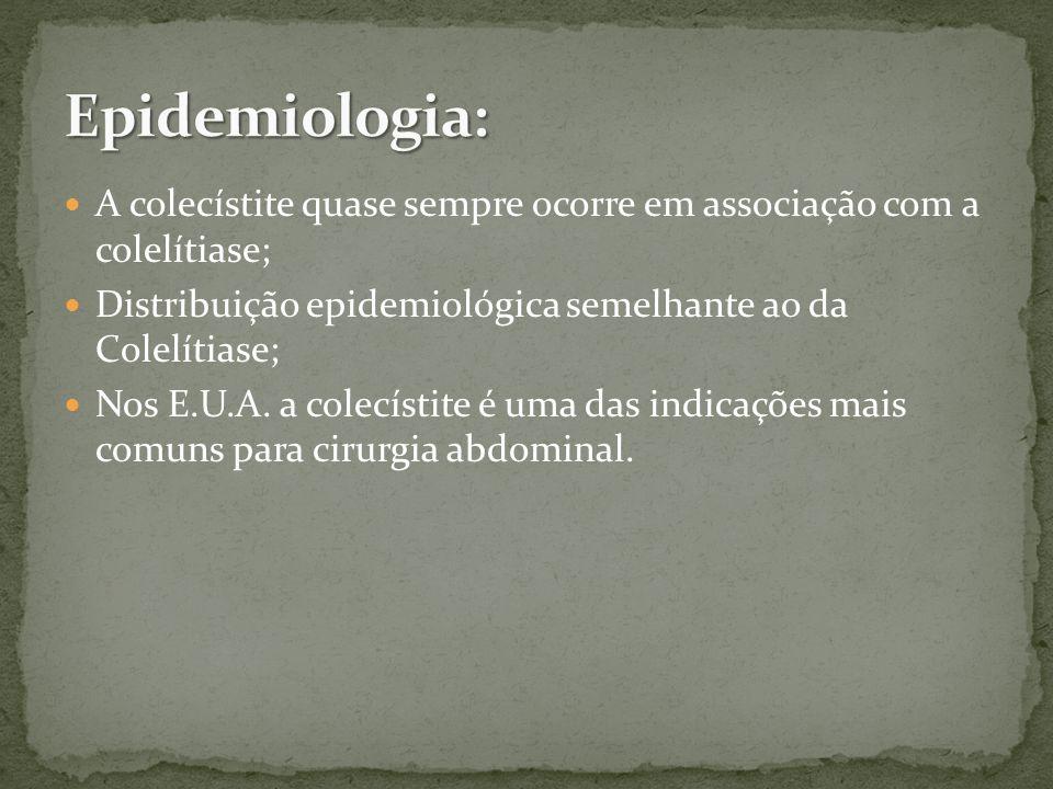 A colecístite quase sempre ocorre em associação com a colelítiase; Distribuição epidemiológica semelhante ao da Colelítiase; Nos E.U.A.