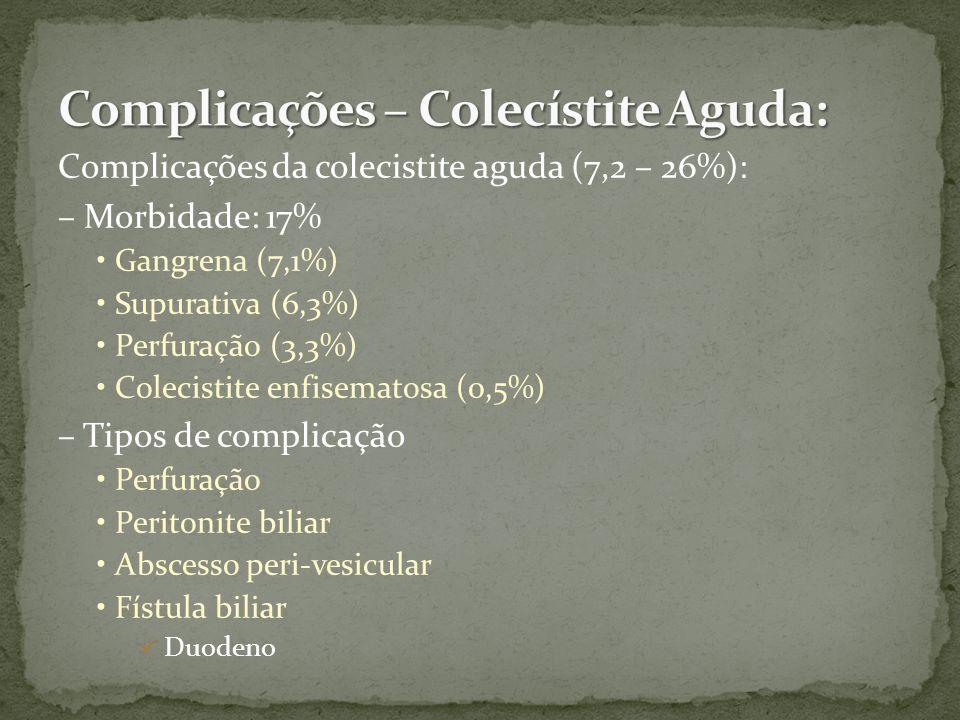 Complicações da colecistite aguda (7,2 – 26%): – Morbidade: 17% Gangrena (7,1%) Supurativa (6,3%) Perfuração (3,3%) Colecistite enfisematosa (0,5%) – Tipos de complicação Perfuração Peritonite biliar Abscesso peri-vesicular Fístula biliar Duodeno