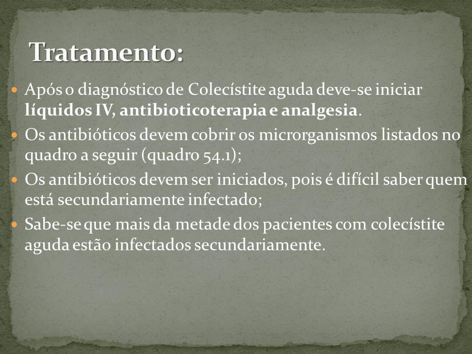 Após o diagnóstico de Colecístite aguda deve-se iniciar líquidos IV, antibioticoterapia e analgesia.