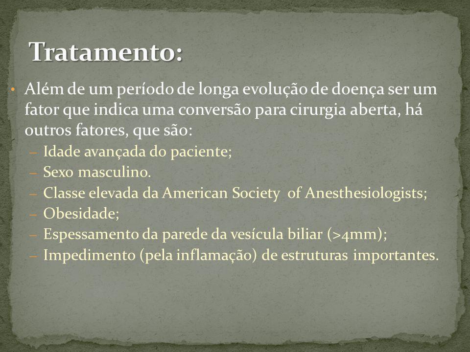 Além de um período de longa evolução de doença ser um fator que indica uma conversão para cirurgia aberta, há outros fatores, que são: – Idade avançada do paciente; – Sexo masculino.