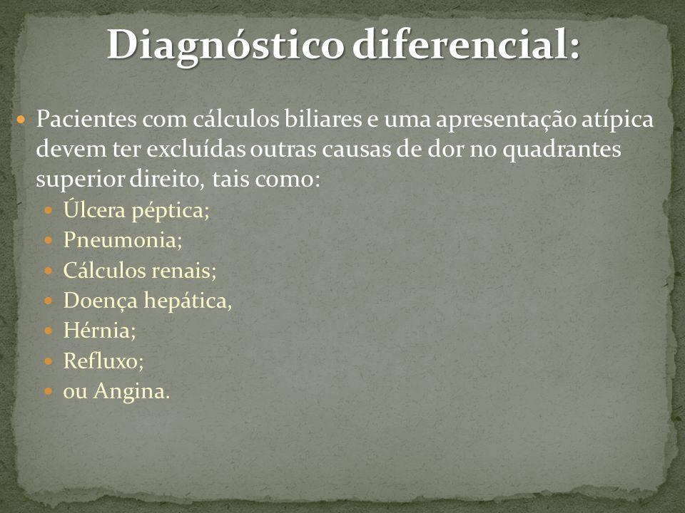 Diagnóstico diferencial: Pacientes com cálculos biliares e uma apresentação atípica devem ter excluídas outras causas de dor no quadrantes superior direito, tais como: Úlcera péptica; Pneumonia; Cálculos renais; Doença hepática, Hérnia; Refluxo; ou Angina.