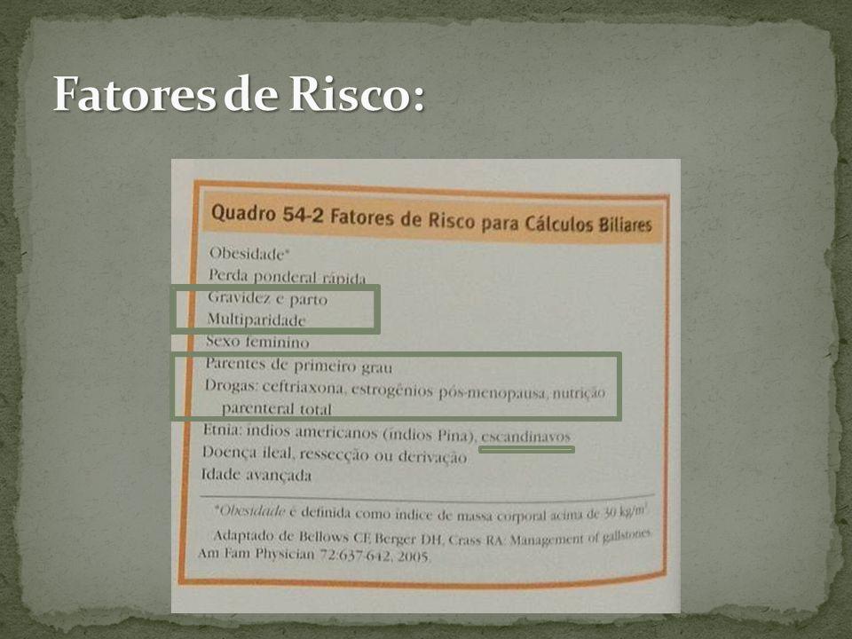 Cálculos da vesícula biliar Classificação dos cálculos Colesterol Bilirrubinato de cálcio Sais orgânicos e inorgânicos de cálcio Sais biliares Glicoproteínas Puros Mistos Pigmentares
