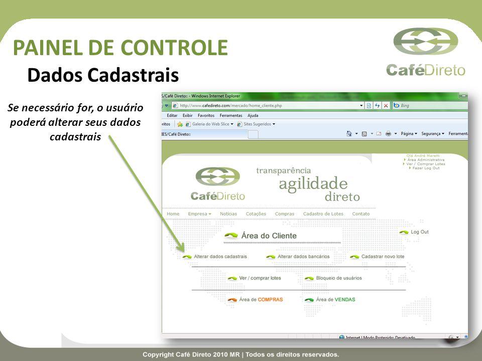 PAINEL DE CONTROLE Dados Cadastrais Se necessário for, o usuário poderá alterar seus dados cadastrais