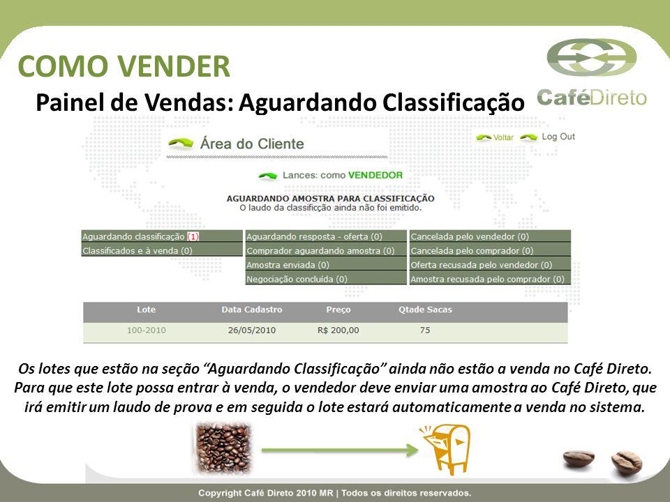 COMO VENDER Painel de Vendas: Aguardando Classificação Os lotes que estão na seção Aguardando Classificação ainda não estão a venda no Café Direto. Pa