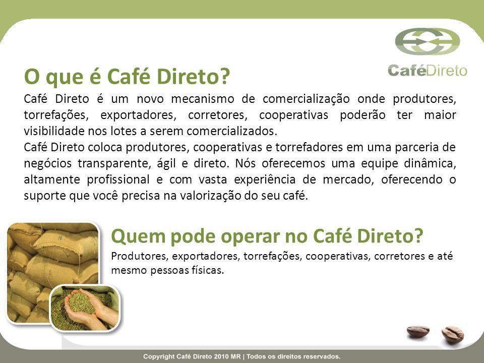 O que é Café Direto? Café Direto é um novo mecanismo de comercialização onde produtores, torrefações, exportadores, corretores, cooperativas poderão t
