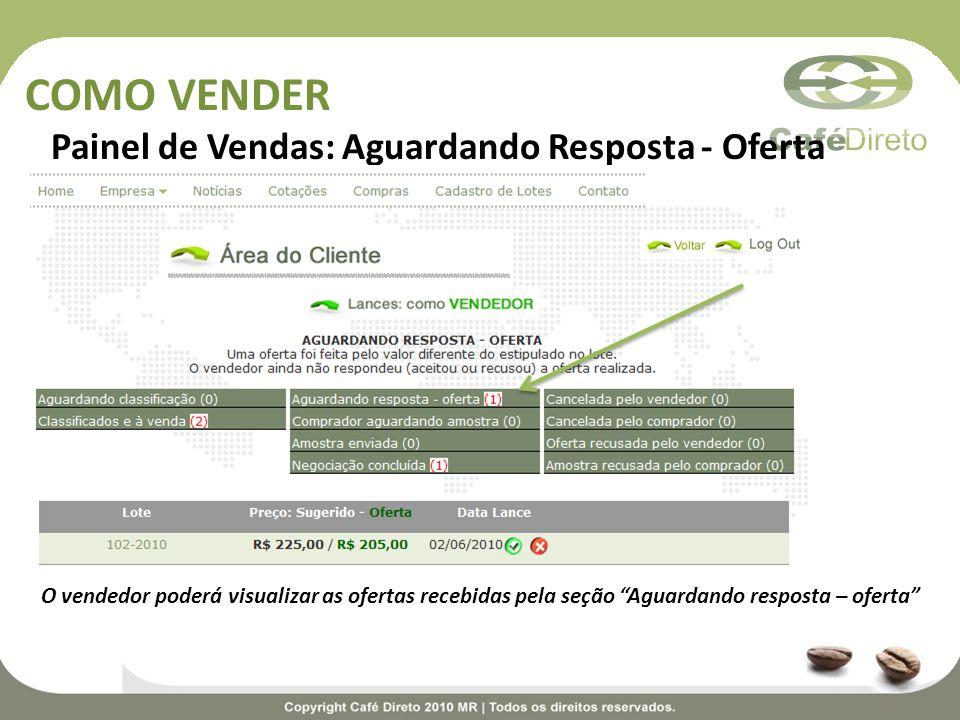 COMO VENDER Painel de Vendas: Aguardando Resposta - Oferta O vendedor poderá visualizar as ofertas recebidas pela seção Aguardando resposta – oferta