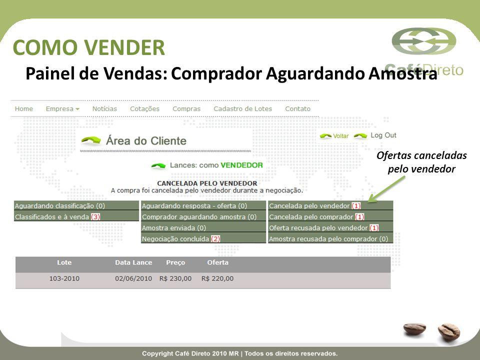 COMO VENDER Painel de Vendas: Comprador Aguardando Amostra Ofertas canceladas pelo vendedor