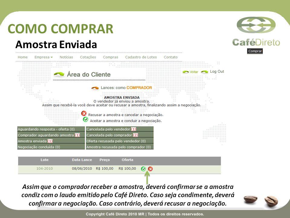 COMO COMPRAR Amostra Enviada Assim que o comprador receber a amostra, deverá confirmar se a amostra condiz com o laudo emitido pelo Café Direto. Caso