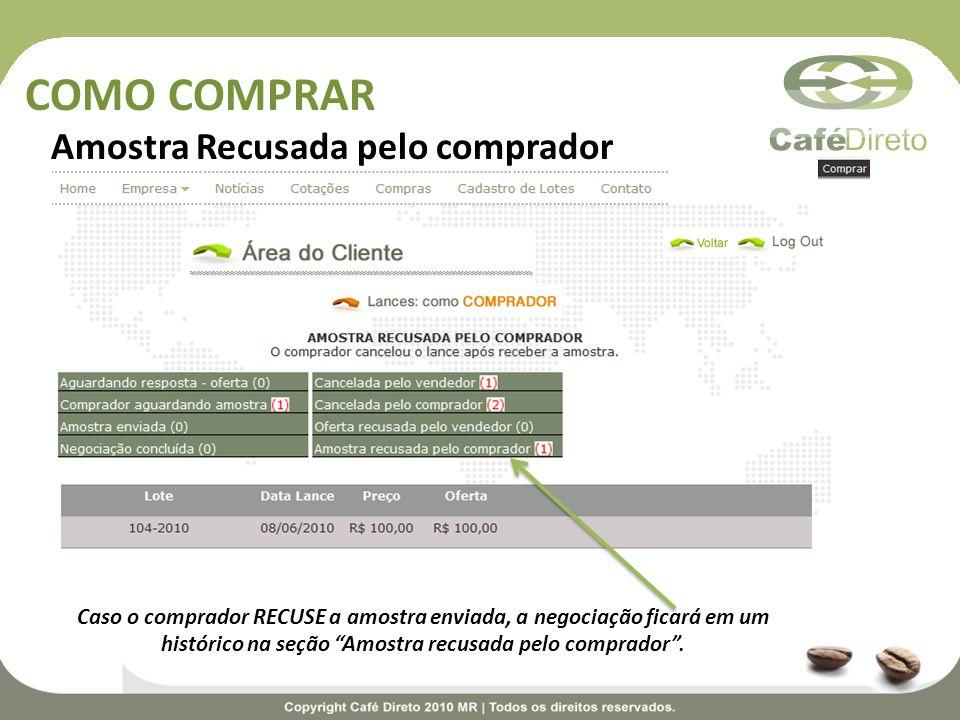 COMO COMPRAR Amostra Recusada pelo comprador Caso o comprador RECUSE a amostra enviada, a negociação ficará em um histórico na seção Amostra recusada