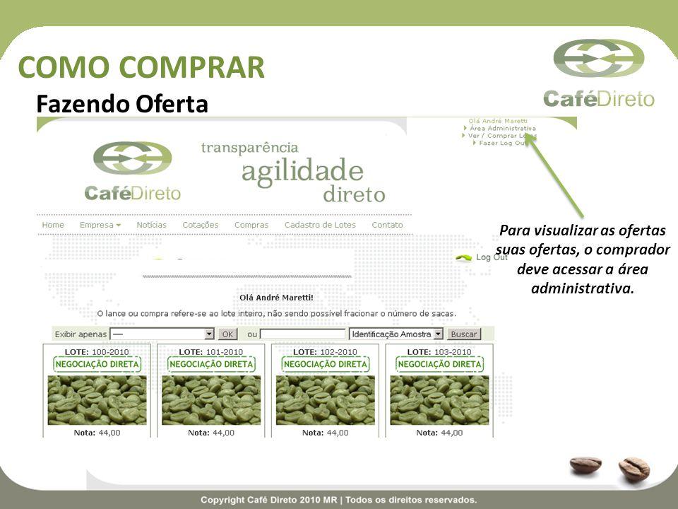 COMO COMPRAR Fazendo Oferta Para visualizar as ofertas suas ofertas, o comprador deve acessar a área administrativa.