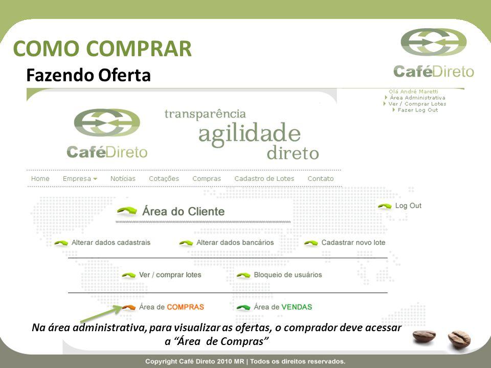 COMO COMPRAR Fazendo Oferta Na área administrativa, para visualizar as ofertas, o comprador deve acessar a Área de Compras