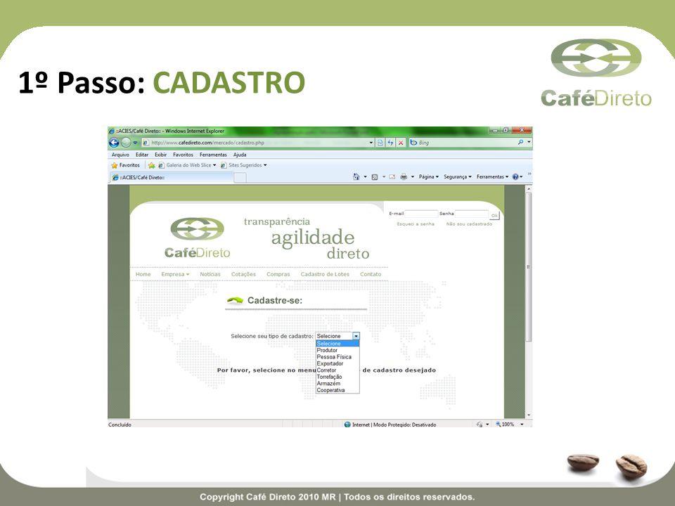 Quando a oferta aparecer na seção Amostra enviada, significa que o Café Direto já enviou a amostra do lote ao comprador.