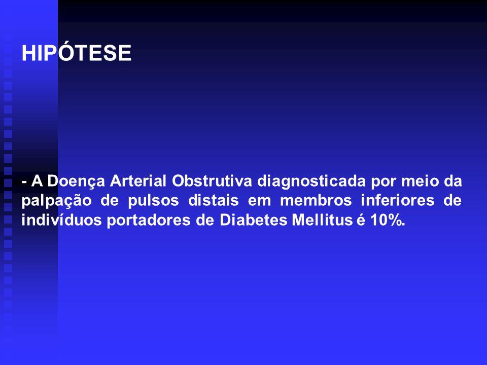 HIPÓTESE - A Doença Arterial Obstrutiva diagnosticada por meio da palpação de pulsos distais em membros inferiores de indivíduos portadores de Diabete