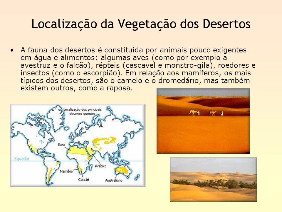 Localização da Vegetação dos Desertos A fauna dos desertos é constituída por animais pouco exigentes em água e alimentos: algumas aves (como por exemp