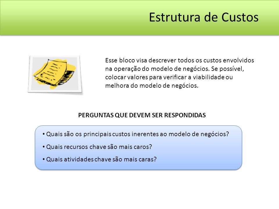 Esse bloco visa descrever todos os custos envolvidos na operação do modelo de negócios. Se possível, colocar valores para verificar a viabilidade ou m
