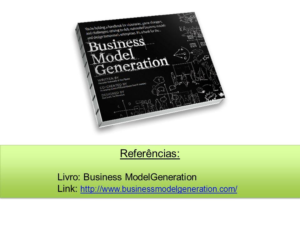 Referências: Livro: Business ModelGeneration Link: http://www.businessmodelgeneration.com/
