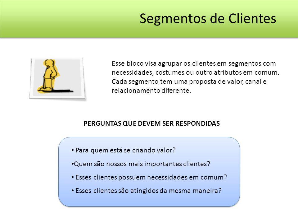 Esse bloco visa agrupar os clientes em segmentos com necessidades, costumes ou outro atributos em comum. Cada segmento tem uma proposta de valor, cana