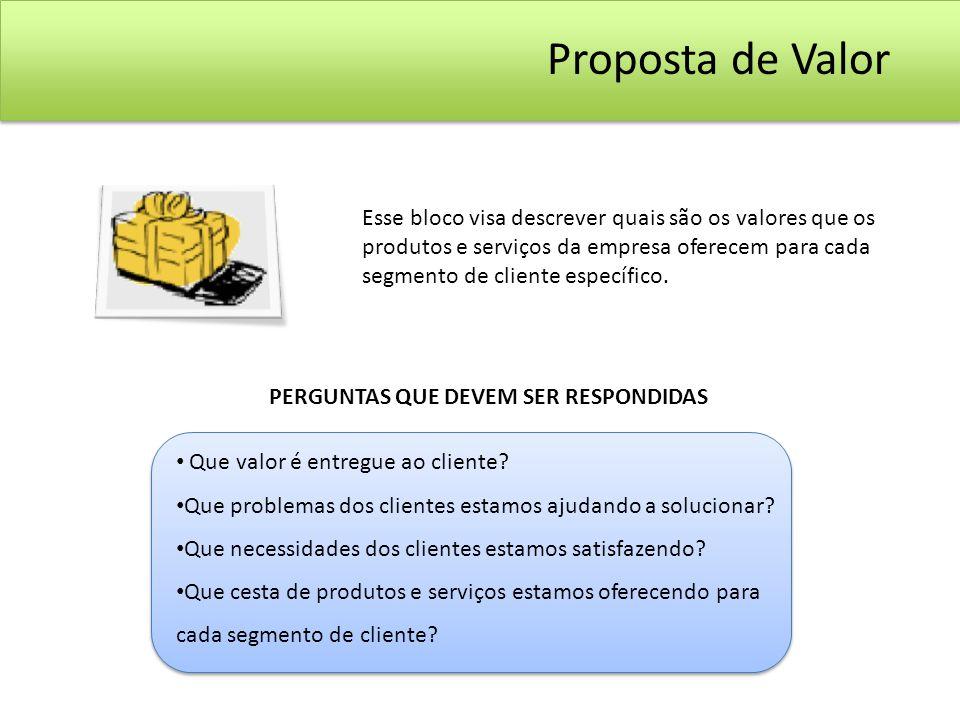 Esse bloco visa descrever quais são os valores que os produtos e serviços da empresa oferecem para cada segmento de cliente específico. Que valor é en