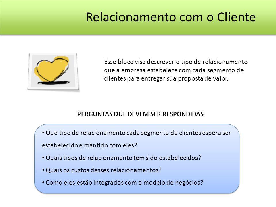 Esse bloco visa descrever o tipo de relacionamento que a empresa estabelece com cada segmento de clientes para entregar sua proposta de valor. PERGUNT