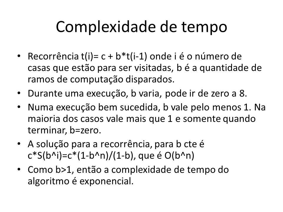 Complexidade de tempo Recorrência t(i)= c + b*t(i-1) onde i é o número de casas que estão para ser visitadas, b é a quantidade de ramos de computação