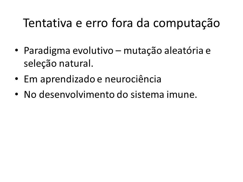 Tentativa e erro fora da computação Paradigma evolutivo – mutação aleatória e seleção natural. Em aprendizado e neurociência No desenvolvimento do sis