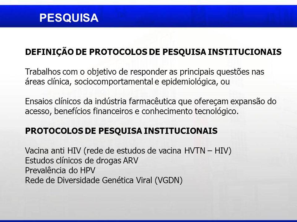 PESQUISA DEFINIÇÃO DE PROTOCOLOS DE PESQUISA INSTITUCIONAIS Trabalhos com o objetivo de responder as principais questões nas áreas clínica, sociocompo