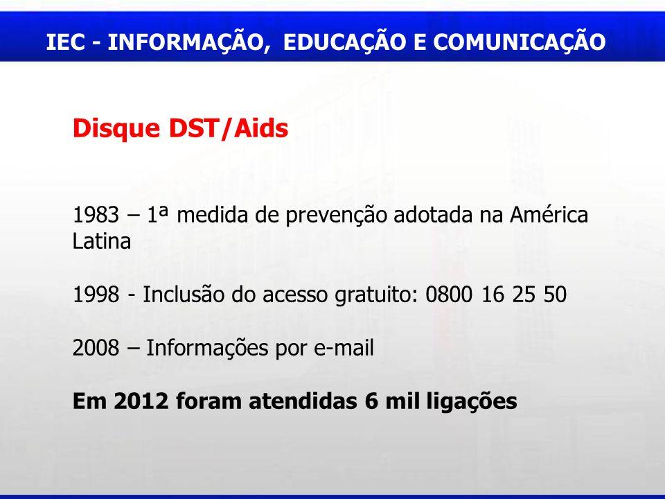 IEC - INFORMAÇÃO, EDUCAÇÃO E COMUNICAÇÃO Disque DST/Aids 1983 – 1ª medida de prevenção adotada na América Latina 1998 - Inclusão do acesso gratuito: 0