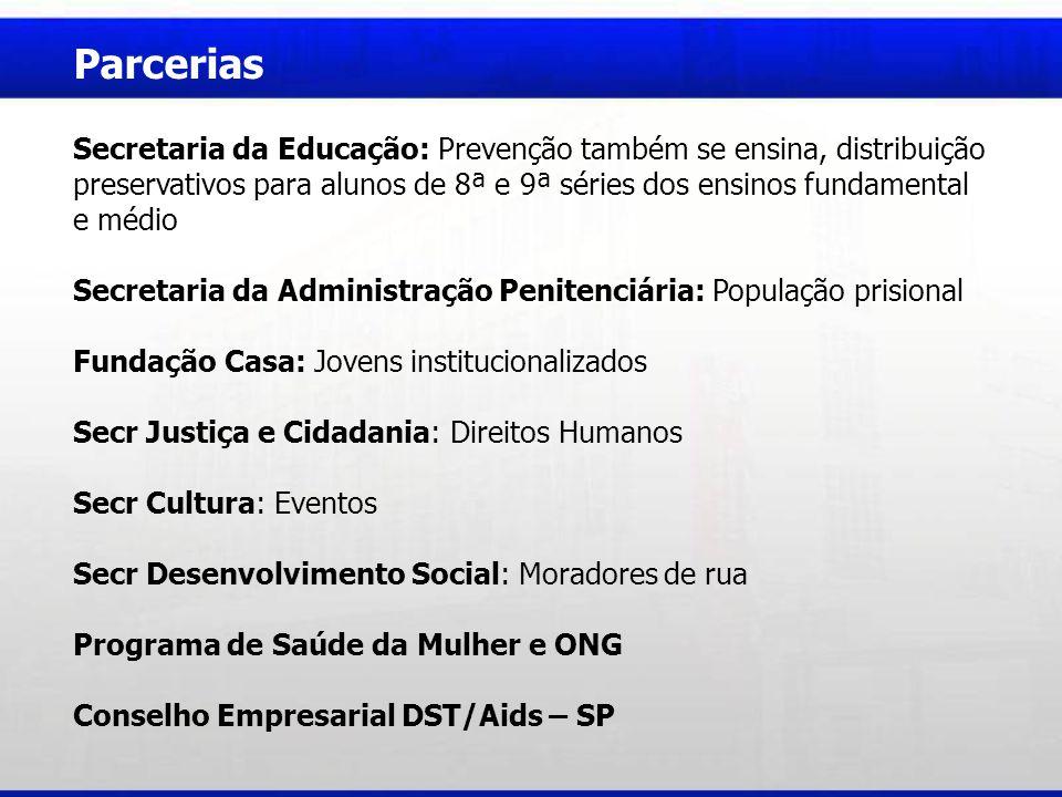 Parcerias Secretaria da Educação: Prevenção também se ensina, distribuição preservativos para alunos de 8ª e 9ª séries dos ensinos fundamental e médio