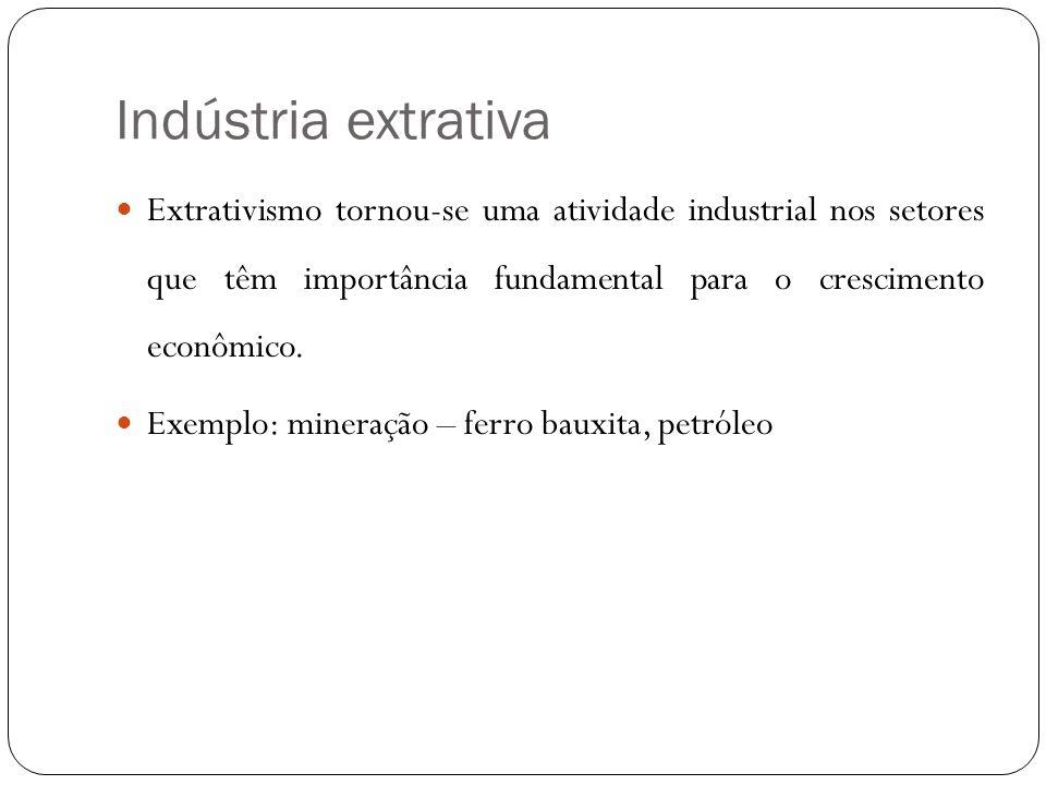 Indústria extrativa Extrativismo tornou-se uma atividade industrial nos setores que têm importância fundamental para o crescimento econômico.