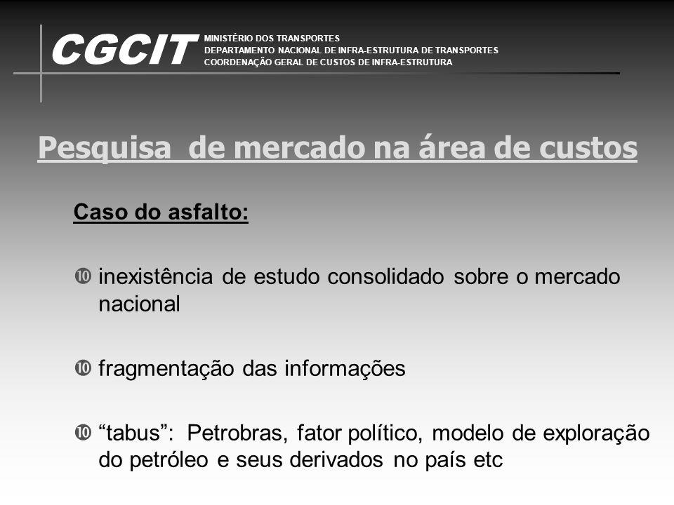 CGCIT MINISTÉRIO DOS TRANSPORTES DEPARTAMENTO NACIONAL DE INFRA-ESTRUTURA DE TRANSPORTES COORDENAÇÃO GERAL DE CUSTOS DE INFRA-ESTRUTURA Pesquisa de mercado na área de custos Do ponto de vista jurídico: Acórdão 424 de 19 de março de 2008: TCU reconhece como legítima a taxa de BDI praticada no contrato nº 23/2006, de 37,81%, afastando a adoção de faixa referencial estabelecida no Acórdão 325/2007 Ministro Relator Benjamin Zymler