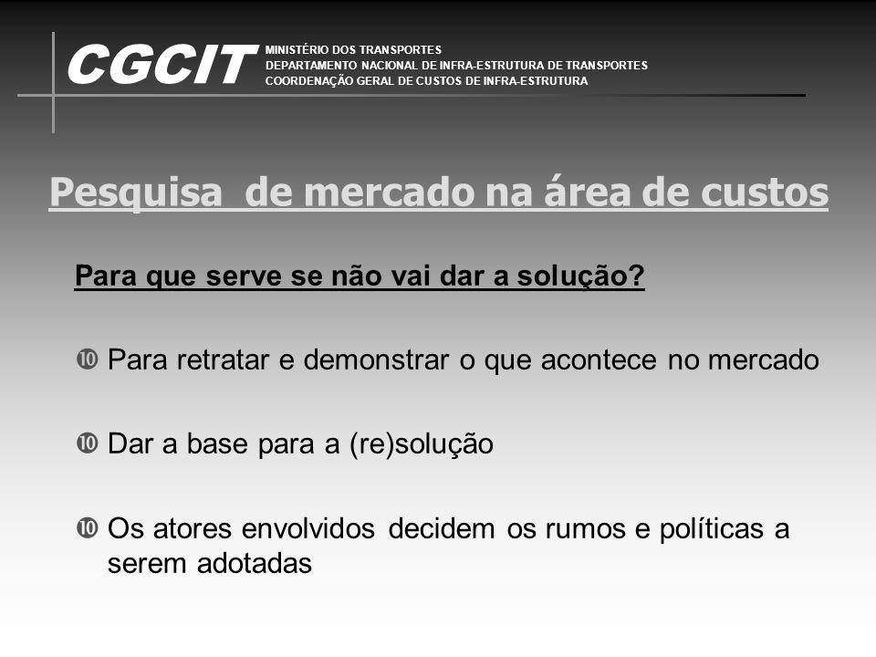 CGCIT MINISTÉRIO DOS TRANSPORTES DEPARTAMENTO NACIONAL DE INFRA-ESTRUTURA DE TRANSPORTES COORDENAÇÃO GERAL DE CUSTOS DE INFRA-ESTRUTURA Pesquisa de mercado na área de custos Do ponto de vista jurídico: Pelo Acórdão 1.551 de 06 de agosto de 2008, o TCU reconheceu como legítima a taxa de BDI de 40% praticada no contrato em análise Ministro Relator Augusto Nardes