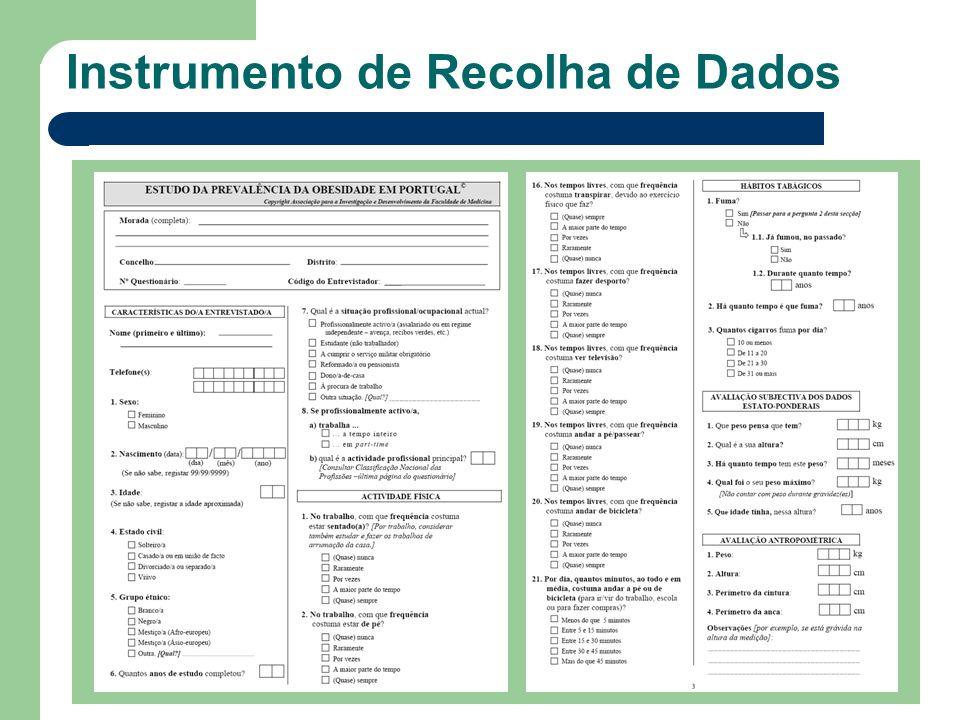 Peso e altura auto-reportados Medição de indicadores antropométricos Instrumento de Recolha de Dados IMC (kg/m2) Baixo peso 18,5 Normal18,5 – 24,9 Excesso de peso 25,0 Pré obesidade25,0 – 29,9 Obesidade Grau I30,0 – 34,9 Obesidade Grau II35,0 – 39,9 Obesidade Grau III 40,0 Perímetro da cintura Perímetro da anca Peso (balança digital) Altura