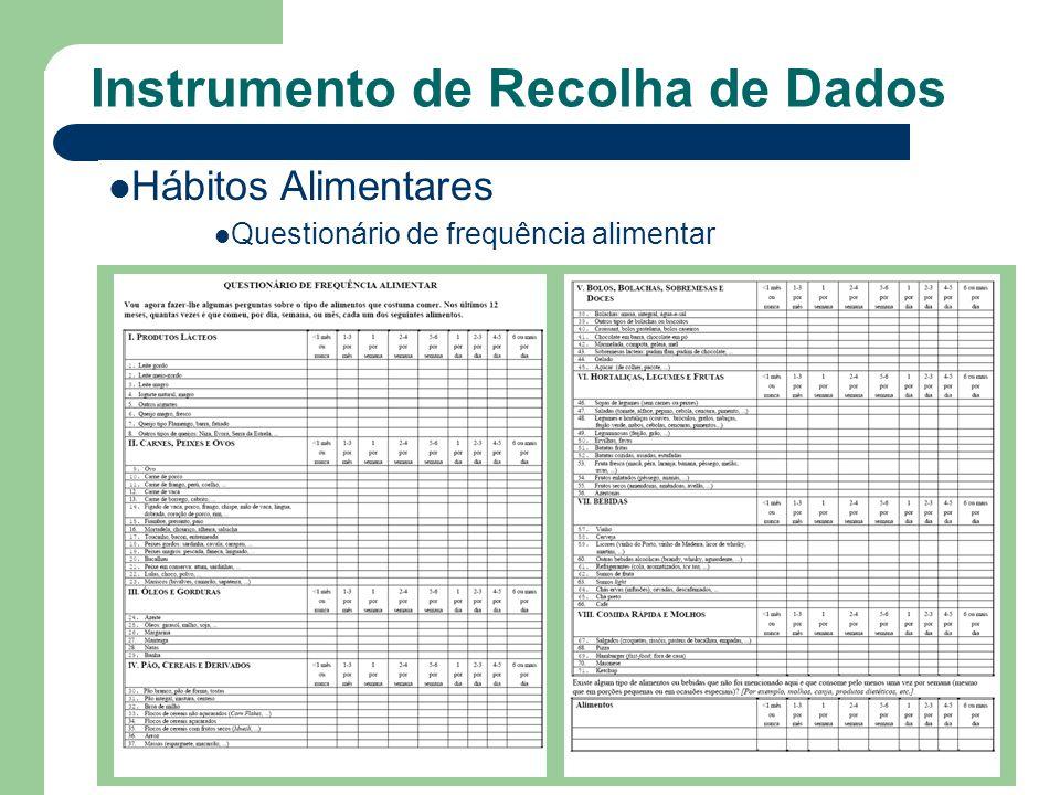 Hábitos Alimentares Questionário de frequência alimentar Instrumento de Recolha de Dados