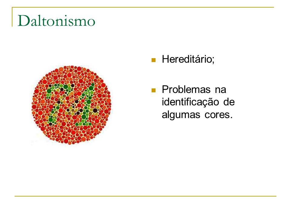 Daltonismo Hereditário; Problemas na identificação de algumas cores.