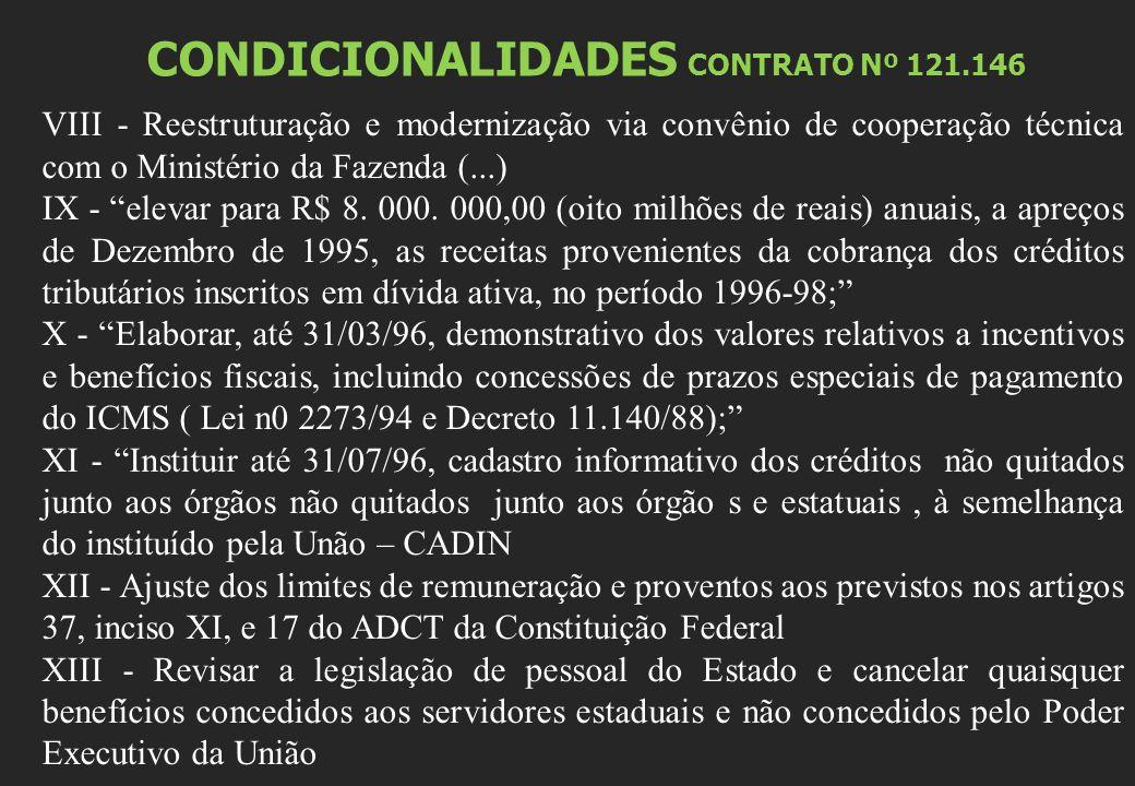 CONDICIONALIDADES CONTRATO Nº 121.146 VIII - Reestruturação e modernização via convênio de cooperação técnica com o Ministério da Fazenda (...) IX - elevar para R$ 8.
