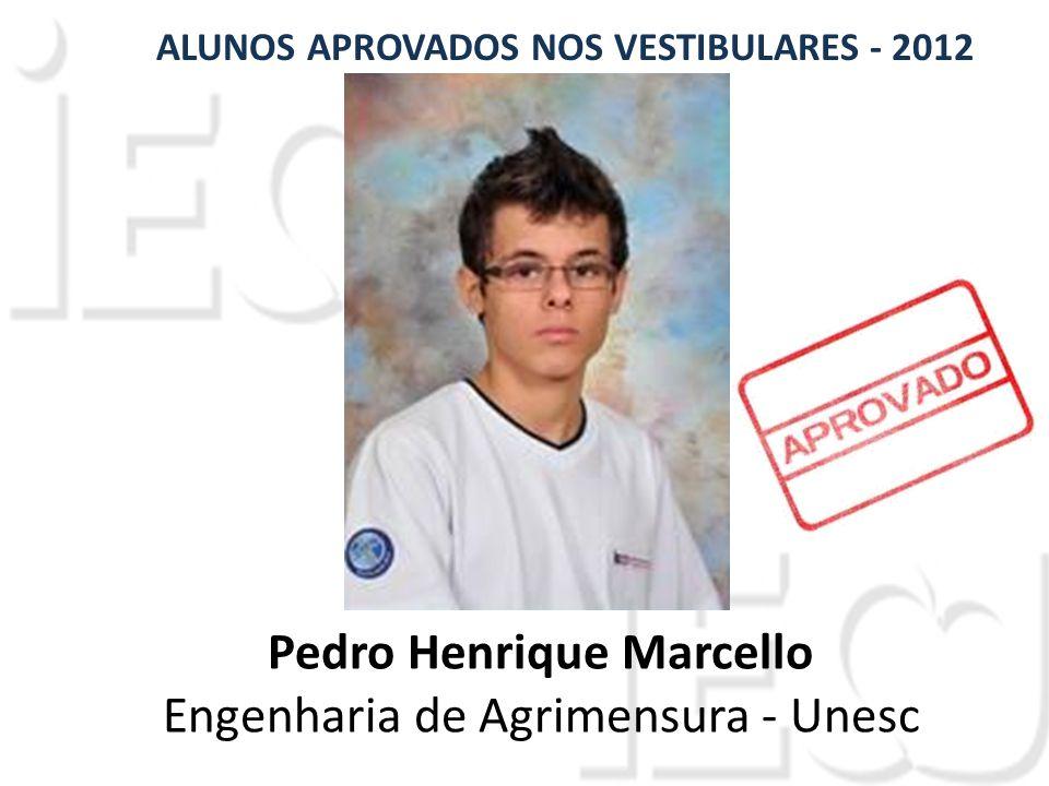 Pedro Henrique Marcello Engenharia de Agrimensura - Unesc ALUNOS APROVADOS NOS VESTIBULARES - 2012