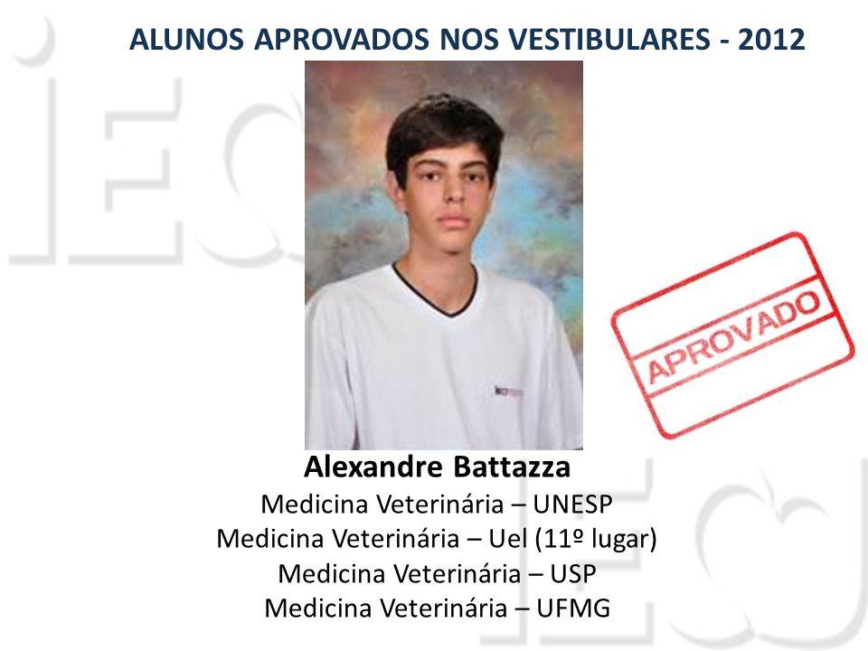 Alexandre Battazza Medicina Veterinária – UNESP Medicina Veterinária – Uel (11º lugar) Medicina Veterinária – USP Medicina Veterinária – UFMG ALUNOS APROVADOS NOS VESTIBULARES - 2012
